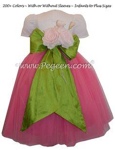 b2735ae0e7b Shock Pink and Grass Green Ballerina Style Flower Girl Dress