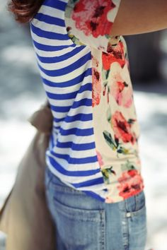striped floral tee