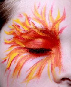 flame face paint - Google Search Halloween Makeup, Halloween 2018, Halloween Costumes, Ice Makeup, Phoenix Makeup, Dragon Makeup, Phoenix Costume, Warm Highlights, Fire Fairy