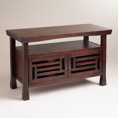 """At WorldMarket.com: Hako Media Stand; rubberwood; 48.75""""W x 20""""D x 30""""H; on sale @ $248 (+$35 shipping)"""