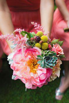 Bright bridesmaid bouquet: http://www.stylemepretty.com/connecticut-weddings/2014/09/24/pops-of-color-at-lord-thompson-manor-wedding/   Photography: Tara Lynn Sen - http://www.taralynnsen.com/