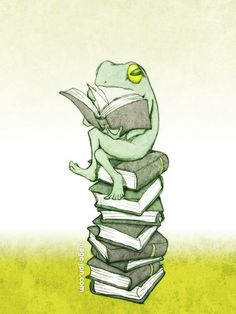 """Frog illustration - """"Reading A Book"""" Funny Frogs, Cute Frogs, Frosch Illustration, Illustration Art, Flower Drawing Images, Frog Drawing, Frog Tattoos, Frog Pictures, Frog Art"""