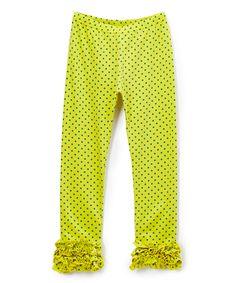 Yellow Polka Dot Ruffle Legging - Infant Toddler & Girls