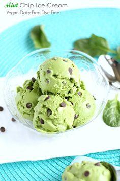 Mint Chocolate Chip Ice Cream (Vegan, Dairy Free) Easy homemade no churn naturally colored mint ice cream