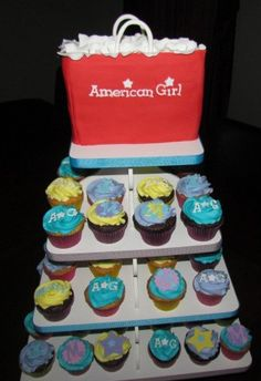 American Girl Cupcake Tower   Cute idea! My girls have been wanting an American Girl party and I'm needing ideas! :)
