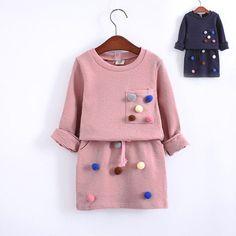 Pom Pom Sweater & Skirt Set - 2 Colors