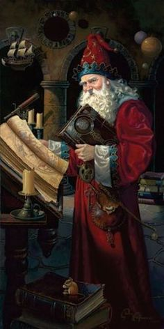 OLDE YULE RITUAL performed by an archetypal scholar whose garment color connects him with santa while its details denote a medieval wizard ! Foto Fantasy, Fantasy World, Fantasy Art, Baba Yaga, Vintage Santas, Vintage Christmas, Victorian Christmas, Primitive Christmas, Country Christmas