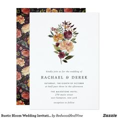 Rustic Bloom Wedding Invitation Elegant floral wedding invitations or fall or winter weddings feature your details topped by a posy of watercolor roses, mums and greenery in rustic autumn colors including peach, ivory, blush, burgundy and green. Burgundy Wedding Invitations, Elegant Wedding Invitations, Wedding Invitation Cards, Custom Invitations, Invites, Flower Invitation, Invitation Ideas, Wedding Stationery, Wedding Cards