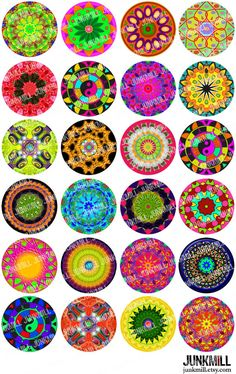 My Home Remodeling Mandala Painting, Mandala Art, Bottle Cap Crafts, Bottle Caps, Hand Drawn Flowers, Bottle Cap Images, Art Plastique, Digital Collage, Collage Sheet