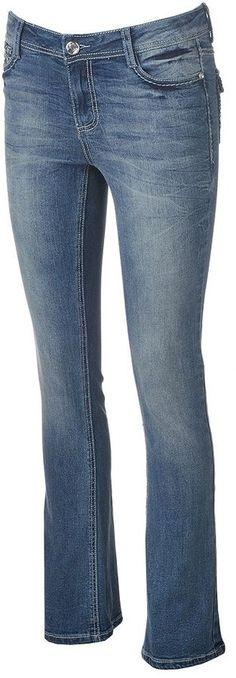 Juniors' Vanilla Star Bling Bootcut Jeans
