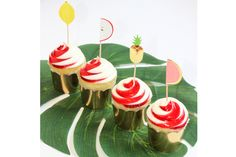 Fruit Cupcake Picks such as lemon, pineapple, watermelon and apple