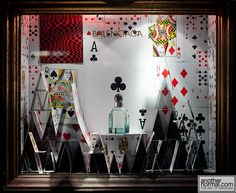 house of cards, pinned by Ton van der Veer House Of Cards, Deck Of Cards, Window Display Design, Window Displays, Were All Mad Here, Visual Display, Store Windows, Higher Design, Showcase Design