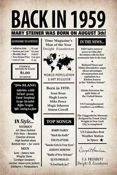Personalized 50th Birthday Newspaper Poster 1969 Facts