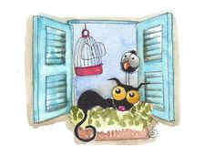ACEO Original watercolor painting whimsical Stressie black cat sunny spot #IllustrationArt