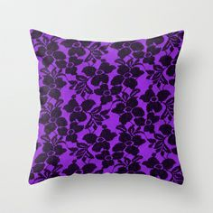 Black Lace on Purple Throw Pillow by Alice Gosling - $20.00 Available in 3 sizes, indoor or outdoor options, with or without the insert.  #pillow #cushion #home #decor #lace #black #pattern #purple