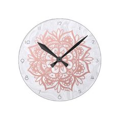 Rose Gold Mandala on White Marble Wall Clock - home gifts ideas decor special unique custom individual customized individualized