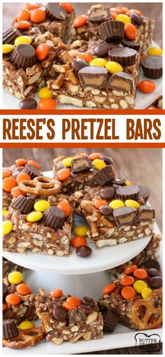 Reese's Pretzel Bars - tasty little Reese's treats made with marshmallows and pretzels! Easy dessert recipe from Butter With A Side of Bread AD #BoardtoTable