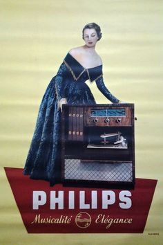 publicite-francaise:  Aljanvic - Meuble radio-phono Philips, 1950s. Vintage Market, Vintage Ads, Vintage Posters, Vintage Designs, Vintage Items, Vinyl Record Shop, Vinyl Records, Old Time Radio, Radio Wave