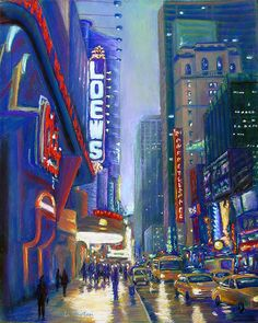 Rainy Reflections in Times Square Painting .