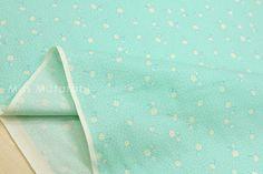 Japanese Fabric Atsuko Matsuyama Tiny Daisy  aqua  by MissMatatabi