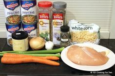 INGREDIENTS 2 medium skinless boneless chicken breasts cut into 1 inch cubes 4 -14 oz cans chicken broth 1 pound frozen white corn 1 medium onion diced 4 cloves garlic minced 2 carrots peeled and diced 2 celery stalks chopped 1½ tsp chicken soup base or 2 bouillon cubes 1 t oregano ½ t thyme ½ t pepper salt to taste INSTRUCTIONS Chop 2 peeled carrots, 2 stalks celery and one medium onion. Cook for 8 hrs on low.