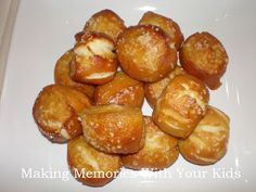 Soft Pretzel Bites  These can be made with salt or cinnamon and sugar - yum!