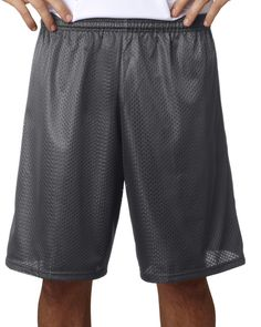 "a4 adult tricot-lined 9"" mesh shorts - graphite (3xl)"
