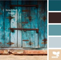 boarded hues - ooohhh!  The dark teal is the color of my room already.  Like how it ties the blue, brown, and gray together.  Was trying to look for nice inspiration to tie it together.
