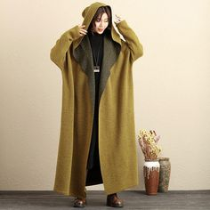 Literature Hoody Cardigan Long Sleeves Winter Yellow Coat For Women