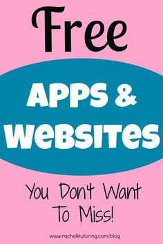 Free Apps Websites - lists lots of apps and websites for math, ELA and science by patrice Learning Websites, Educational Websites, Educational Technology, Teaching Resources, Teaching Ideas, Homeschooling Resources, Educational Leadership, Kids Educational Crafts, Science Crafts