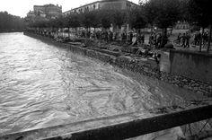 1962 girona La ciutat de Girona després de les inundacions provocades pel desbordament del riu Onyar i el riu Güell. El riu Onyar vist des del carrer General Mendoza