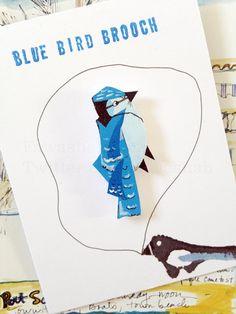Blue bird Brooch Handmade Animal Brooch Illustration by Fawa1, $11.00
