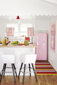"How About That Pink Fridge? A pink Smeg refrigerator from Sears is the showstopper in the guest-suite kitchen. Lina rug from Plastica. ""How about that pink fridge? It's tiny — perfect for a small kitchen. Cute Kitchen, Vintage Kitchen, Kitchen Decor, Vintage Fridge, Happy Kitchen, Kitchen Ideas, Country Kitchen, Kitchen Paint, Retro Vintage"