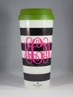 Kate Spade Cup with Vinyl Monogram, Personalized Decal in Vine or Circle Custom Kate Spade Monogram Tumbler, Coffee Cup Insulated Cup Preppy