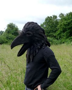 Very odd but I like it: Hand Made to Order: Hand felted Raven animal mask / head dress suitable for performace, dance or theatre. $695,00, via Etsy.