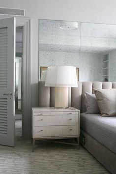 Laura Bohn Design - Antique mirror @ headboard wall