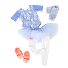 """• Sturdy polyester and cotton construction  • Dress their dolls for the ballet dance  • Sized for 18"""" dolls    Your future little ballet dancers will love dressing their 18"""" dolls for the opening show when they're outfitted in the Our Generation Deluxe Ballerina Outfit. The outfit comes complete with ballet ensemble: a blue leotard with overlay of white crochet flowers; light blue tutu; white tights; blue leggings; and contrasting pink ballet slippers—all dressed to warm up for the…"""
