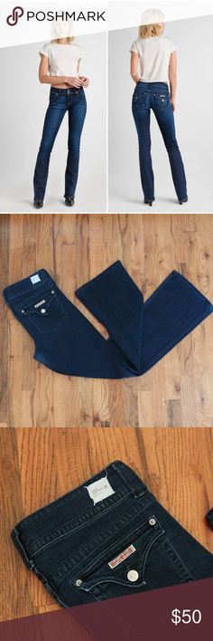 "Hudson Midrise Signature Bootcut Dark Indigo Jeans Hudson Midrise Signature Bootcut Dark Indigo Jeans; Made in LA, these dark wash indigo jeans feature the classic Hudson flap pockets and are made of premium stretch denim.  Measurements are laying flat: Waist: 16"" Front Rise: 8 3/4""  Inseam: 30"" Leg opening: 9"" Hudson Jeans Jeans"