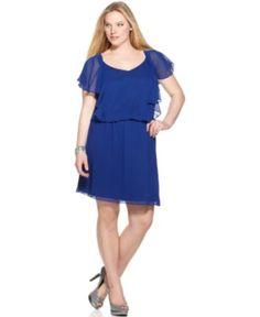 I might need to get this dress!! SL Fashions Plus Size Dress, Short Sleeve Blouson - Plus Size Dresses - Plus Sizes - Macy's