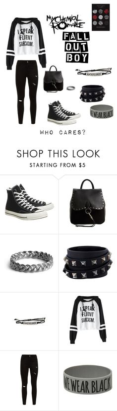 """Who cares?"" by awesomegoldfish ❤ liked on Polyvore featuring Converse, Rebecca Minkoff, Mellem, Valentino, Hot Topic and Coven"