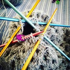 Reshare : @rosielbard  Getting to grips with circular knitting using the double pointed needle method, and my new multicoloured Addi needles... #dpns #circularknitting #hat #addineedles #cableknitting : #addicolibris #addineedles
