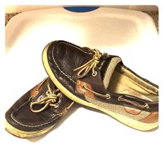 Hearty Sperry Topsiders Black Floral Sequins Patent Leather Trim 9.5 Boat Shoes Women's Shoes