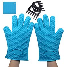 Foreasy 1 Pair Silicone Oven Mitts Limited Time Offer 1 Pair Meat Claws and 1 Pot Holder Heat Resistant Silicone BBQ Gloves Best Kitchen Cooking Tools Set for BBQ Baking Protect Your Hands from High Temperature Meat Claws Great for Shredding and Pulling Meat The Best Barbecue Tool Set Blue >>> To view further for this item, visit the image link.