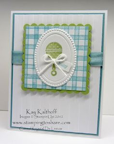 Love the gingham technique with stripe folder - awesome!!! From Stamping to Share blog!