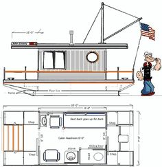 Boat Plans Stitch And Glue Small Houseboats, Trailerable Houseboats, Centre Console Boat, Pontoon Houseboat, Floating Boat Docks, Wooden Speed Boats, Floating Architecture, Shanty Boat, Flat Bottom Boats