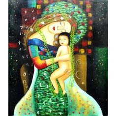 Hand painted oil on canvas Mother and Child