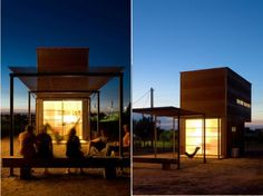 Candid Rogers's tiny home is a stacked lightbox covered in steel in Marfa, Texas.