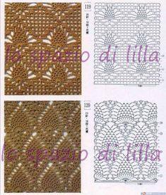 lo spazio di lilla: Schemi pizzo punto ananas all'uncinetto / Pineapple crochet lace free charts