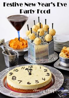 New Year's Eve Party Food - Parmesan Artichoke Cheesecake Countdown Clock, Mini Time's Square (Cheese) Balls, Chocolate Ganache Served with Town House Pretzel Thins Pretzel Thins, New Year's Food, Parmesan, Cheese Ball, Food Festival, New Years Eve Party, Countdown Clock, Holiday Recipes, Cheesecake