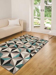 Tapis Moderne Épais à Motif Géométrique Bleu Sarcelle - 3 Tailles: Amazon.fr: Cuisine & Maison